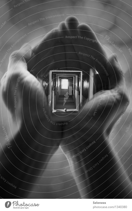 Deeply look Skin Human being Masculine Hand Fingers 1 House (Residential Structure) Door Hallway Sharp-edged Creepy Double exposure Black & white photo Light