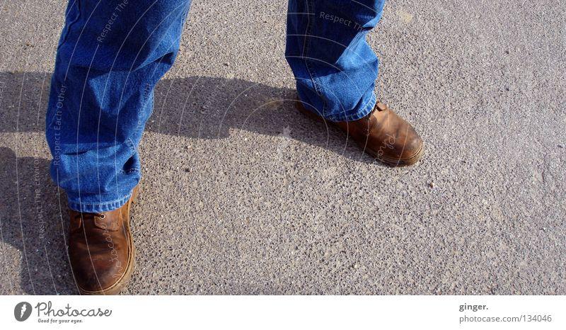 Man Blue Calm Adults Dark Gray Legs Bright Feet Brown Footwear Stand Safety Jeans Asphalt Wrinkles