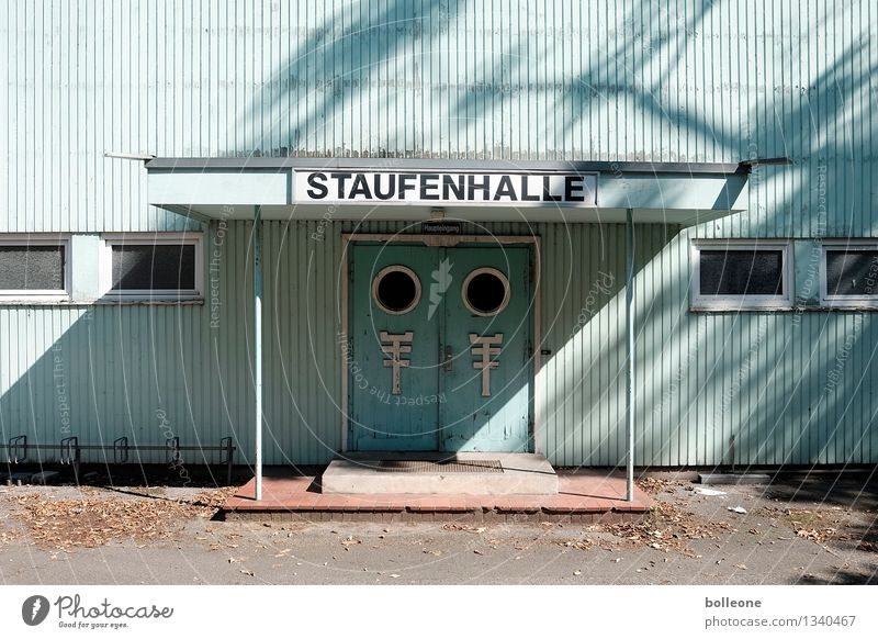 Lost Places: Staufenhalle Duesseldorf Germany Manmade structures Building Architecture Gymnasium Facade Entrance Sports Old Broken Apocalyptic sentiment
