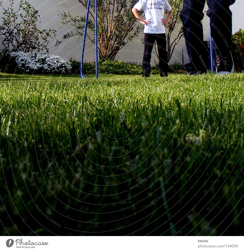 lawn perspective Goal Ground Lawn Grass surface Green Blade of grass Garden Rod Pants Legs Playing Passion Perspective Bushes Football pitch