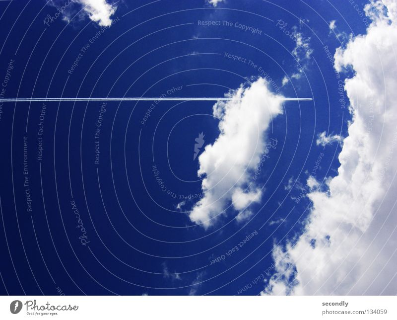 Sky White Ocean Blue Clouds Watercraft Airplane Aviation Services Vapor trail