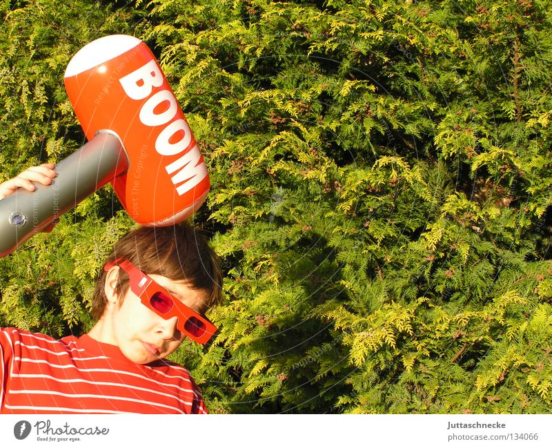 Child Green Red Boy (child) Playing Garden Head Power Force Dangerous Eyeglasses Toys Blow Stupid Sunglasses Hedge