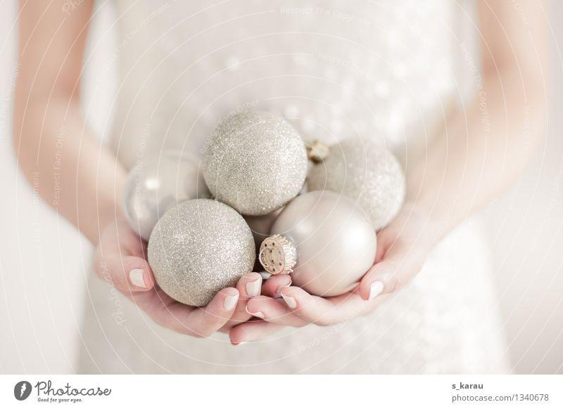 Human being Christmas & Advent Beautiful Hand Winter Emotions Feminine Feasts & Celebrations Moody Bright Glittering Elegant Gold Arm Fingers Dress