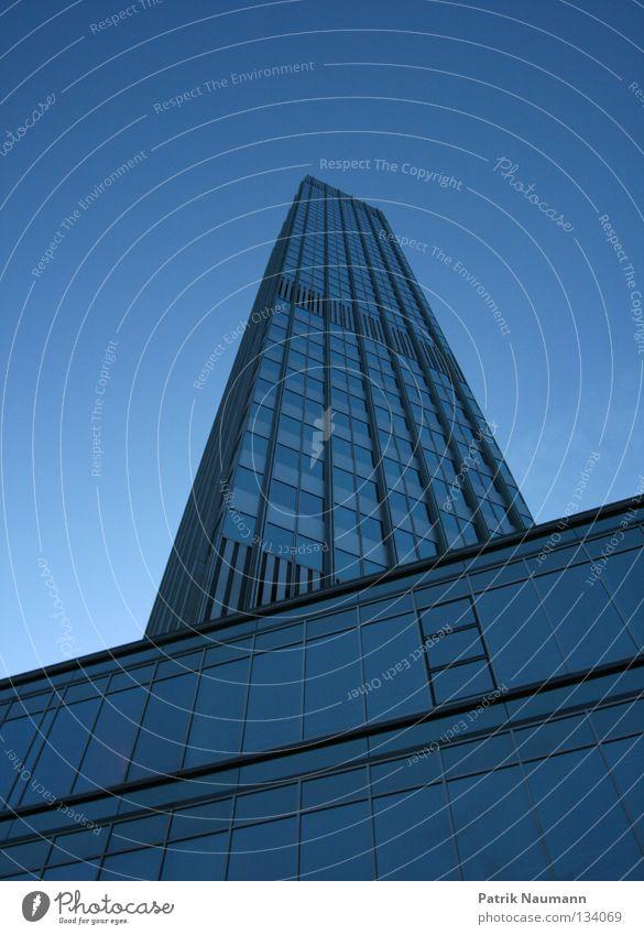 Sky City Blue House (Residential Structure) Metal High-rise Tall Tower Under Skyline Frankfurt Stock market Short