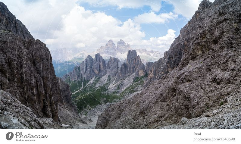 Sky Nature Summer Landscape Clouds Far-off places Mountain Gray Stone Rock Earth Hiking Point Italy Beautiful weather Adventure