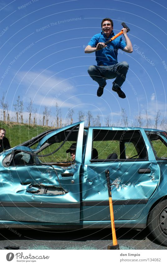 Jump Car Friendship Trashy Boredom Destruction Absurdity Digital photography Motor vehicle Humor Expired