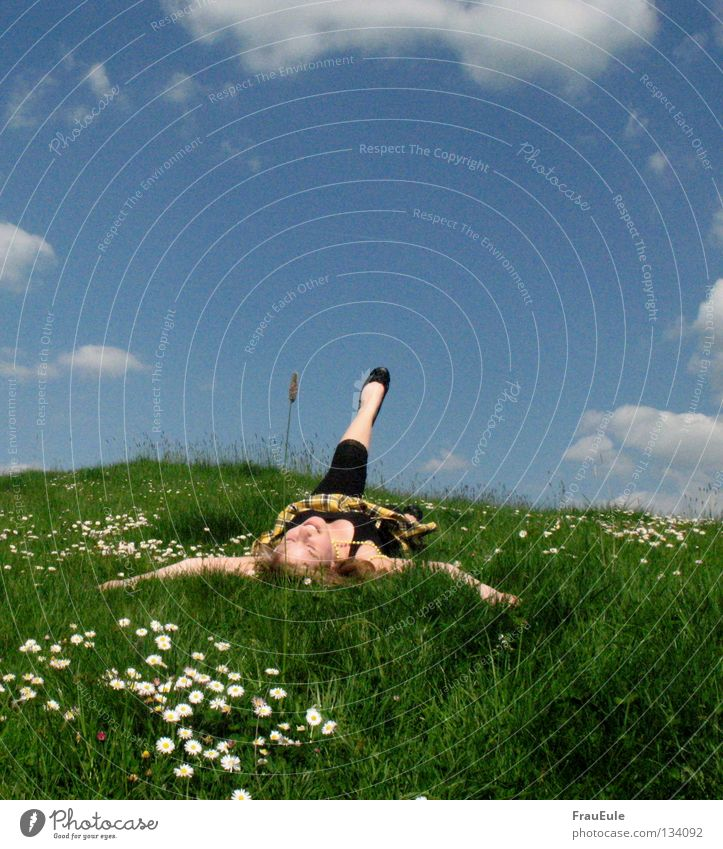 Sky White Flower Green Blue Summer Joy Clouds Yellow Relaxation Meadow Mountain Laughter Dream Feet Legs