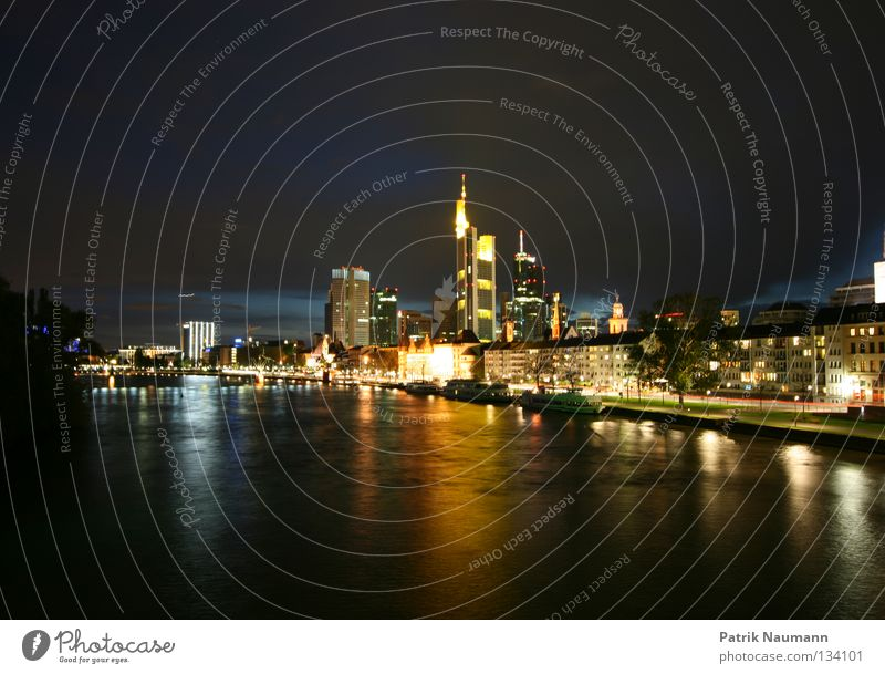 Night Water City Coast High-rise Skyline Frankfurt Main Stock market