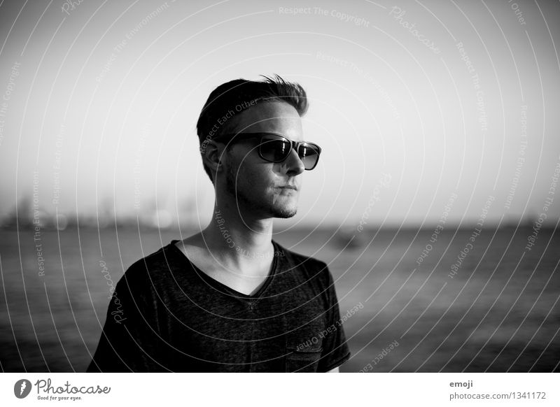 portrait Masculine Young man Youth (Young adults) 1 Human being 18 - 30 years Adults Sunglasses Cool (slang) Hip & trendy Uniqueness Black & white photo