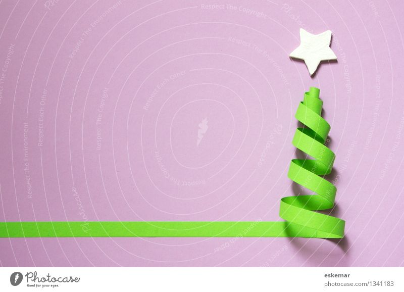 Christmas & Advent Green White Authentic Esthetic Creativity Simple Paper Violet Christmas tree Handicraft Piece of paper Stationery