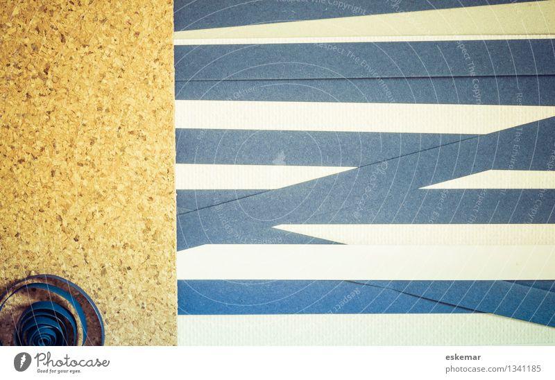 Quilling Background Handicraft quilling Paper Stripe Blue Brown White paper strip Cork corkboard Colour photo Interior shot Pattern Deserted Copy Space left