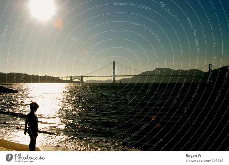 Child Water Ocean Beach Coast USA Americas San Francisco Golden Gate Bridge