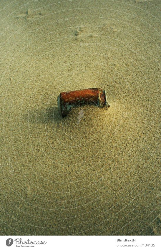 Rusty Can Tin Beach Blown away Loneliness Forget Red Beige Stranded Transience Coast Earth Sand Dramatic