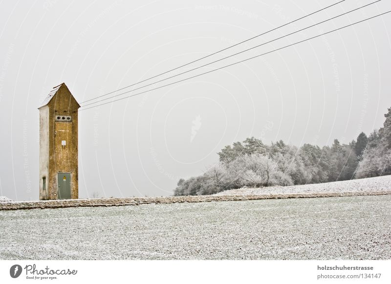 Franconia -- 01 Winter Cold White Gray Yellow Electricity Field Dreary Transformer Calm Exterior shot Wide angle Energy industry Cable Arrow Snow Hoar frost Sky
