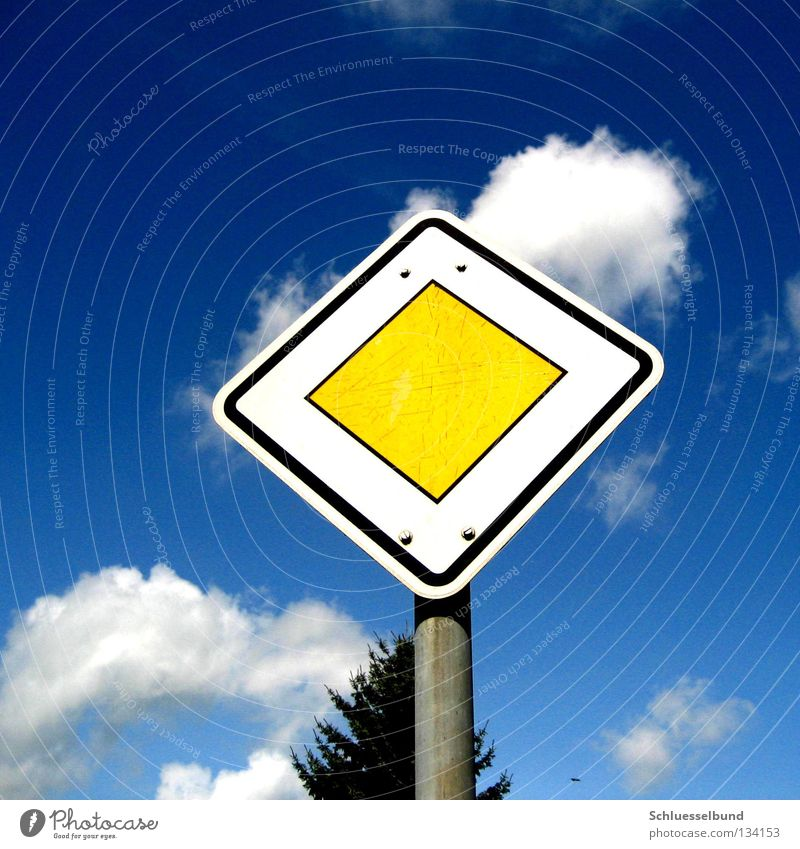 Attention right of way Sky Tree Signs and labeling Blue Fir tree Iron Rod Street sign right of way sign Clouds Yield sign Road sign Main street Copy Space top