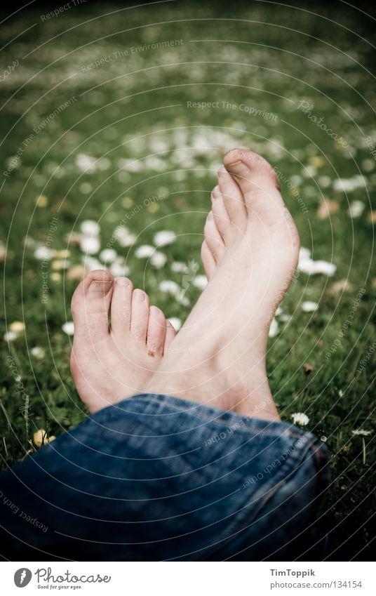 Summer Flower Joy Relaxation Meadow Grass Spring Legs Feet Park Dirty Sleep Lawn Jeans Denim