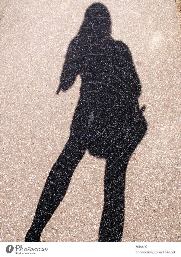 the best friend of the lonely photographer ;-) Colour photo Black & white photo Exterior shot Shadow Silhouette Woman Adults Legs Street Gray Asphalt Stony me