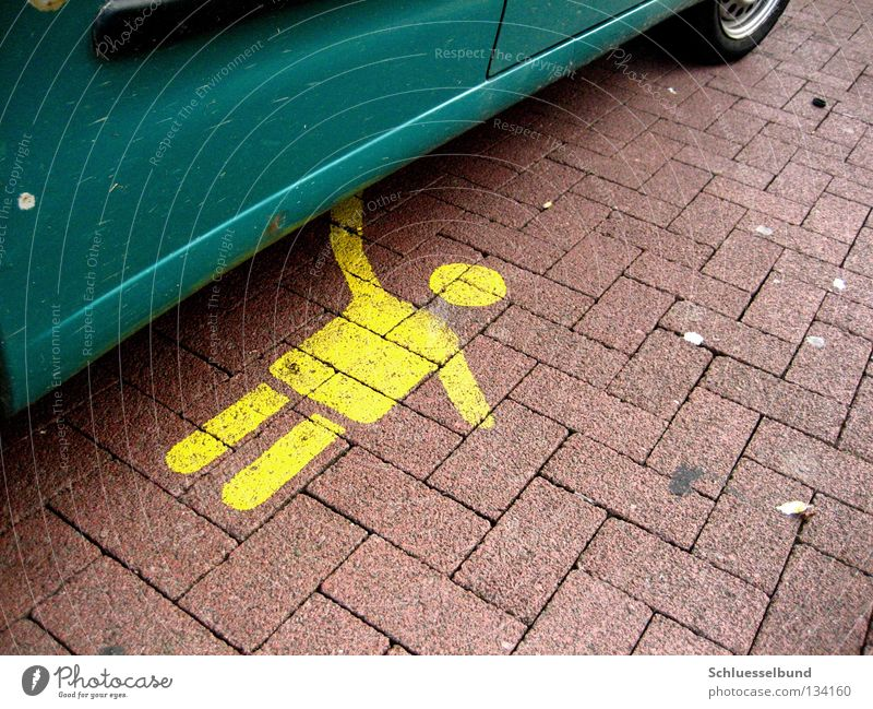 Child Green Red Black Yellow Car Signs and labeling Lie Sign Symbols and metaphors Traffic infrastructure Parking lot Anonymous Paving stone