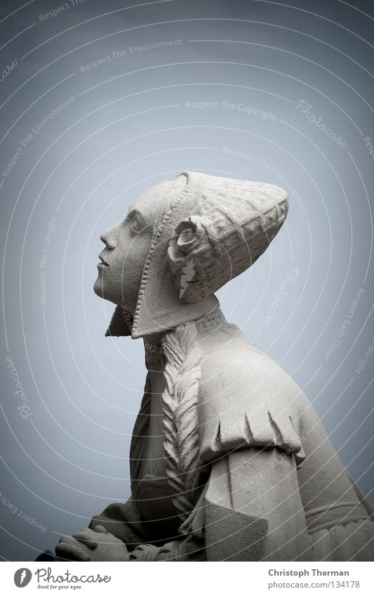 Woman Old Blue Cold Gray Stone Religion and faith Art Hope Cool (slang) Dress Trust Desire Hat Statue Monument