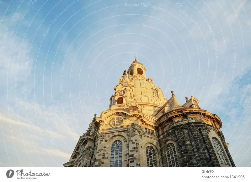 Against madness Tourism Sightseeing City trip Sky Clouds Sunlight Summer Beautiful weather Dresden Downtown Old town Church Dome Tower Facade Domed roof