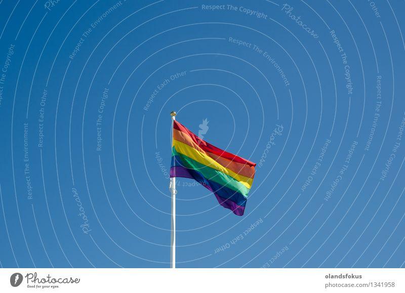 Rainbow flag Freedom Sun Homosexual Sky Wind Flag Bright Blue Yellow Green Red brightly lit civil partnership colorful gay pride hbt hbtq minority orange Purple
