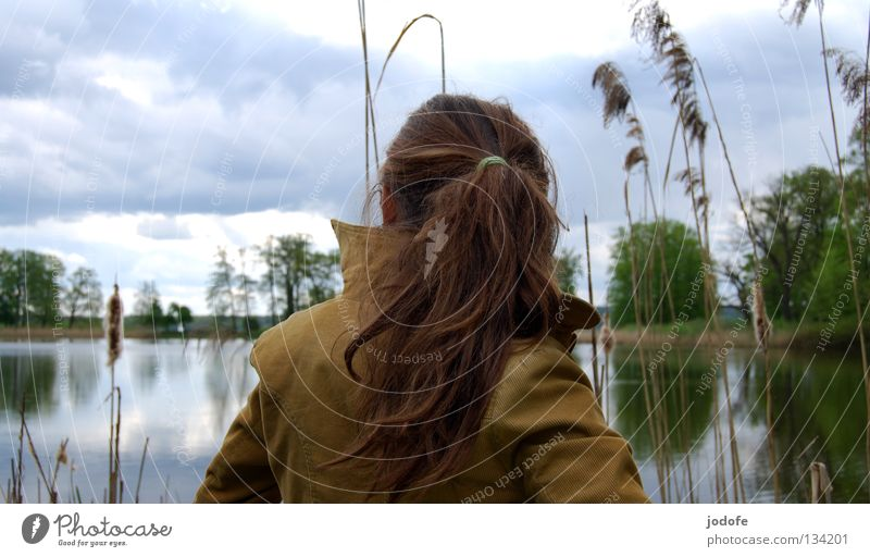 le lac et la fille Lake Woman Feminine Youth (Young adults) Opposite Rear view Back of the head Shoulder Braids Ponytail Brown Reflection Mirror Tree Bushes