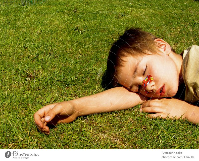 Child Summer Calm Relaxation Boy (child) Meadow Grass Garden Warmth Contentment Sleep Lawn Break Peace Lie Physics