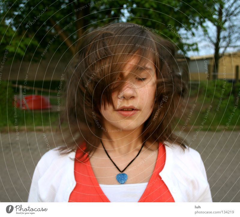 mophead Hair and hairstyles Face Summer Youth (Young adults) Spring Wind Brunette Knot Cold Broken Brown Disheveled Closed Blow Extreme Vociferous Seasons