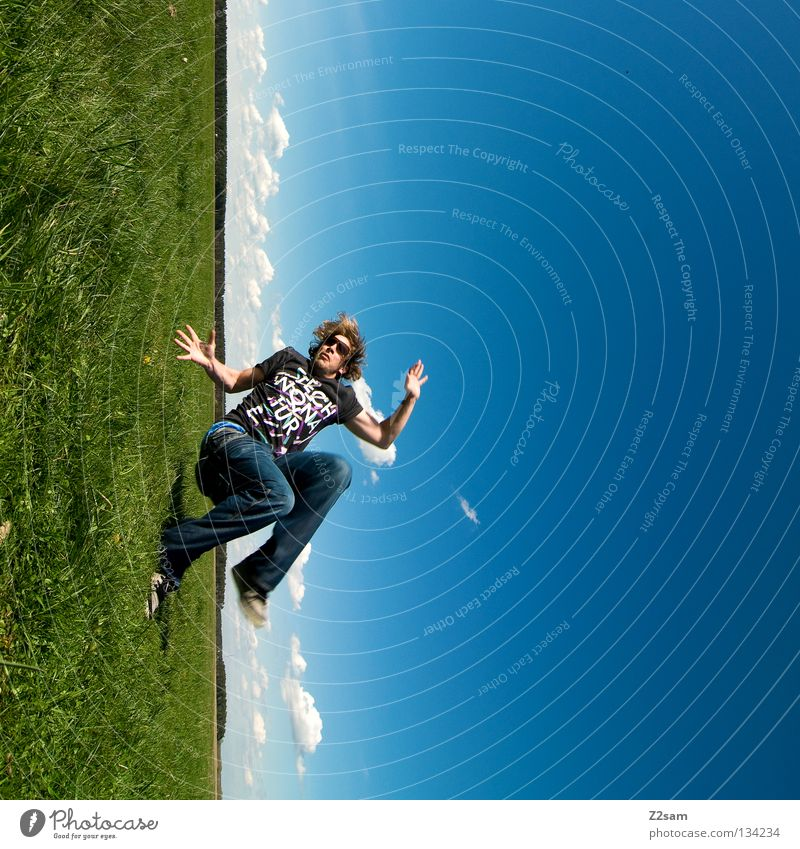 falling To fall Inverted Rotated Across Action April Baseball cap Relaxation To enjoy Grass Green Light blue Man Masculine Cap Rest Salto Sky Summer Sunday Jump