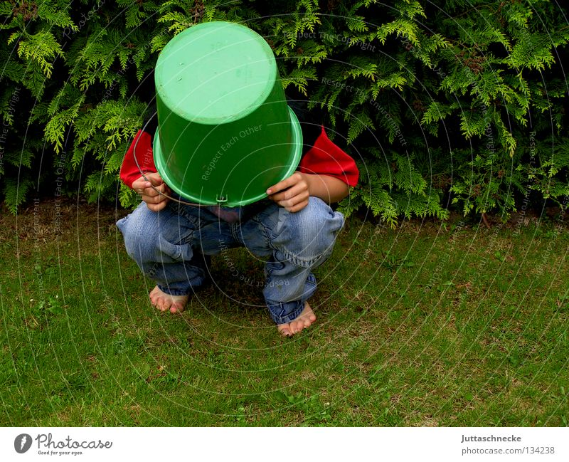 El Torro Boy (child) Child Dress up Bucket Tub Helmet Crazy Playing Headless Grass Meadow Barefoot Communicate lousejunge Hide Mysterious Protection helmeted