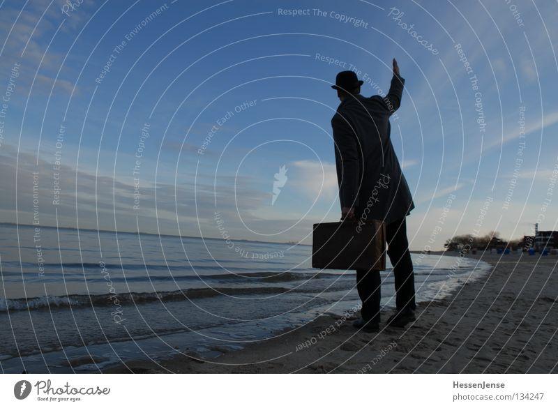 Man Ocean Beach Religion and faith Lake Waves Hope Hat Anger Coat Suitcase Aggravation Wave Salutation Mafia Lateness