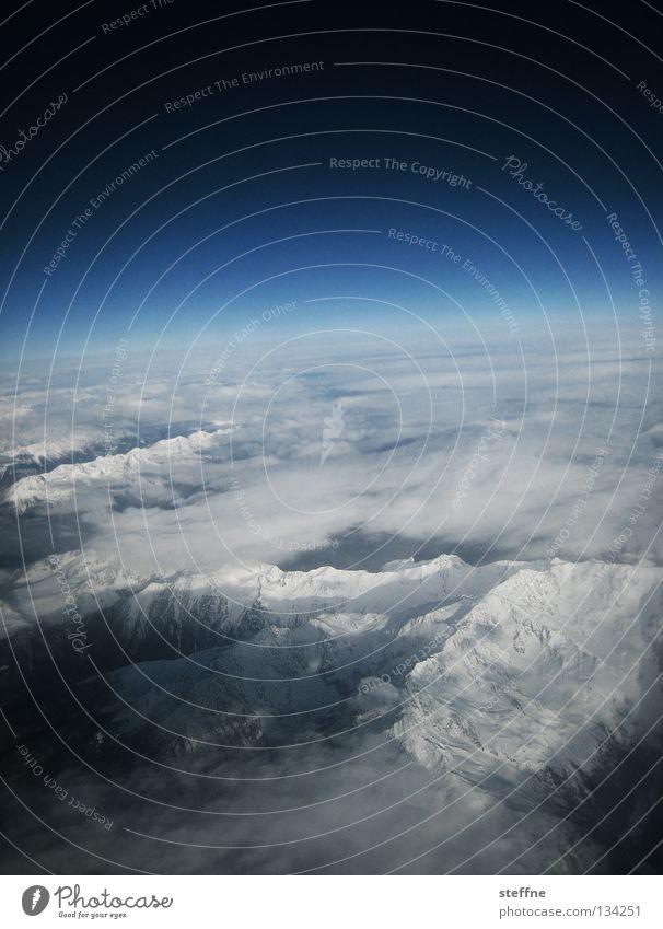 Sky White Blue Clouds Snow Mountain Moody Airplane Horizon Level Alps Peak Universe Firecracker Beautiful weather Wanderlust