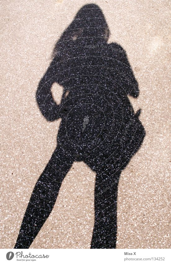 2nd best friend Colour photo Black & white photo Exterior shot Shadow Silhouette Woman Adults Legs Street Gray Asphalt Stony Shadow play Gravel me C sharp