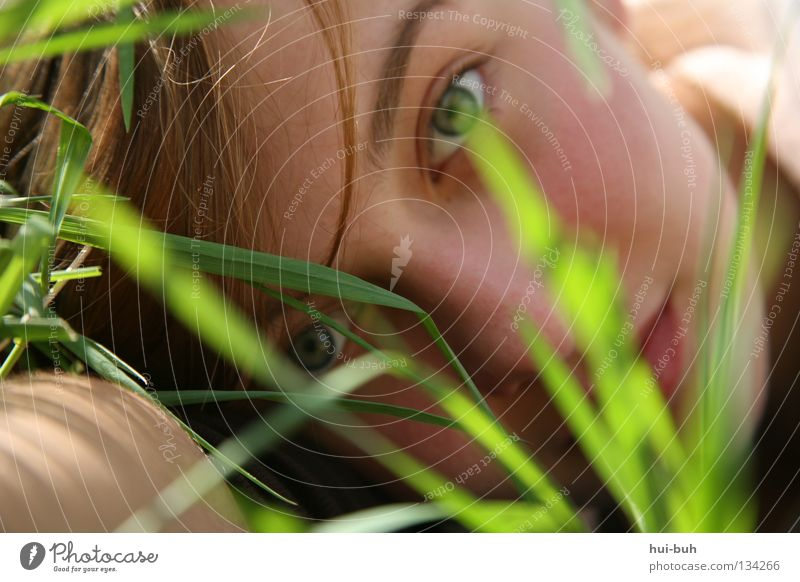the morning hour has gold in its mouth Grass Meadow Spring Plant Environment Grinning Green Summer Physics Wake up Woman Portrait photograph Self portrait