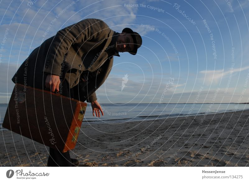 Sky Man Hand Ocean Lake Waves Success Hope Search Hat Suitcase Coat Find Criminality Mafia