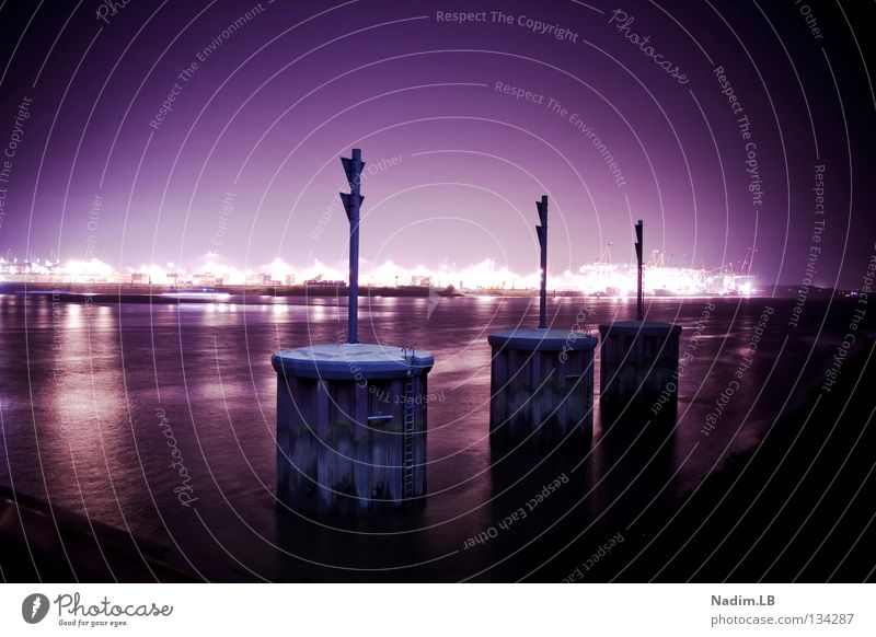 THREE DOCK Dock Night Long exposure Violet Abstract Harbour Hamburg nadim Nadim. LB.