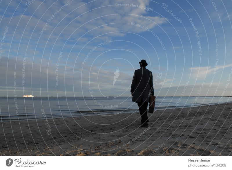 Sky Man Hand Ocean Lake Success Hope Search Hat Suitcase Coat Find Criminality Moral Mafia Human being