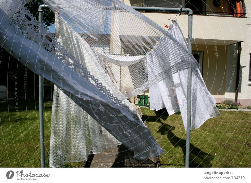 White Green Summer Garden Warmth Wind Physics Drape Laundry Clothesline Airy