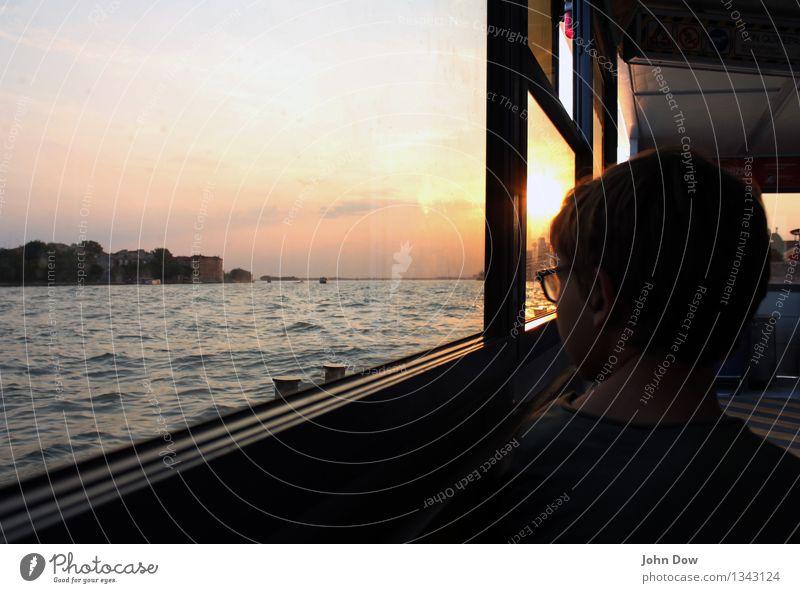 Vacation & Travel Ocean Boy (child) Head Horizon Wait Trip Observe Italy Curiosity Longing Serene Wanderlust Navigation Passenger traffic Shoulder
