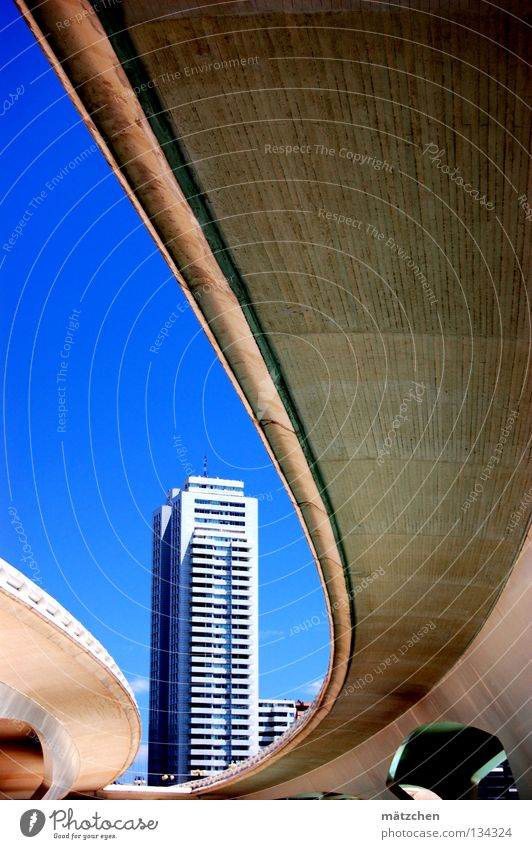 valencia, access to the ciudad de las ciencias. House (Residential Structure) High-rise Futurism Warped Composing Geometry Valencia Highway Worm's-eye view
