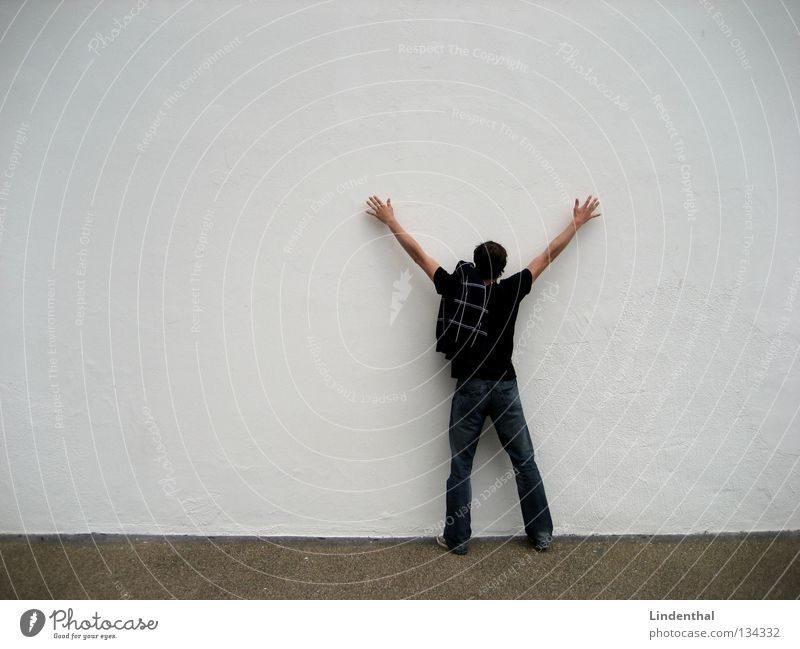 Man Hand White Wall (building) Wall (barrier) Tall Stand Hunting Traffic infrastructure Thief Disperse Body search