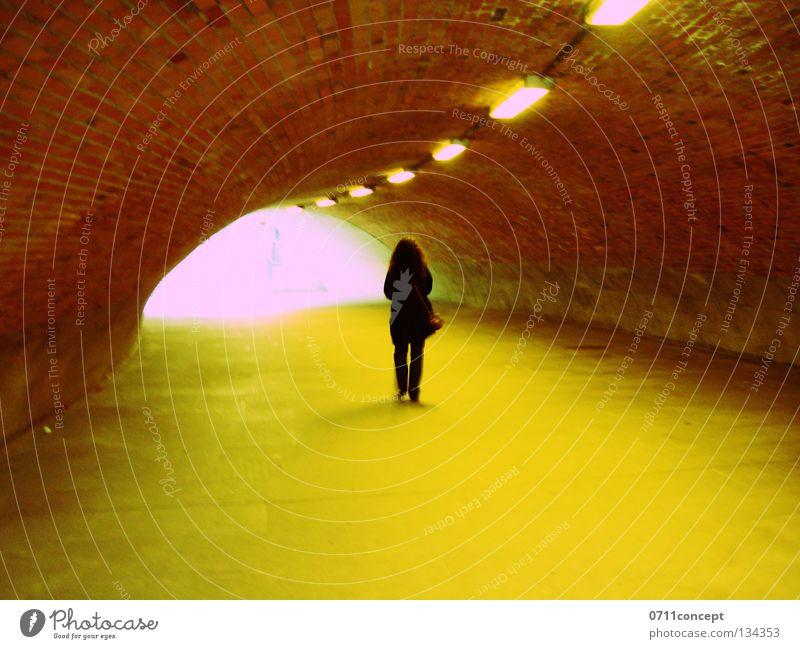Woman Loneliness Fear Walking Dangerous Threat Tunnel Escape Theft Flee