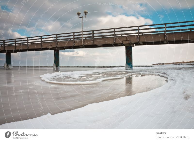 Sea bridge at the Baltic Sea coast Beach Winter Nature Landscape Water Clouds Weather Ice Frost Snow Coast Ocean Stone Cold Vacation & Travel Tourism Wustrow