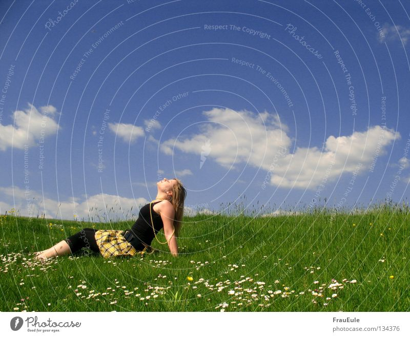 Woman Sky White Flower Green Blue Summer Joy Clouds Yellow Relaxation Meadow Mountain Laughter Dream Feet