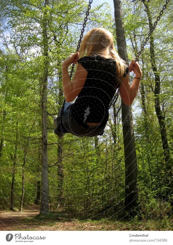 Sky swing II Swing Woman Far-off places Playground Summer Spring Joy Tall Rope Chain Exterior shot