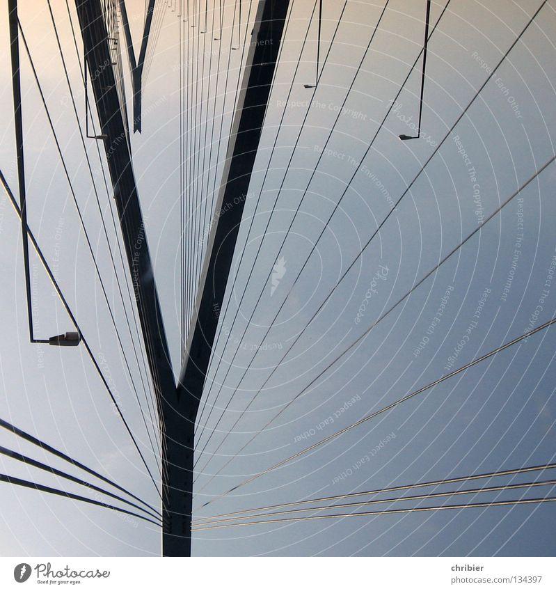 headstand Kohlbrand bridge Go crazy Column Rope Lamp Vantage point Black Construction Bridge Landmark Monument Hamburg Pole Trip Sky Blue Contrast Carrier