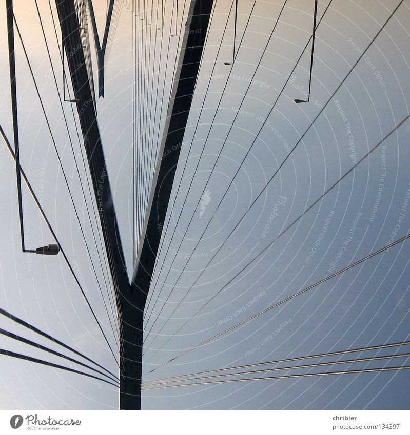 Sky Blue Black Lamp Rope Hamburg Trip Bridge Vantage point Monument Illustration Landmark Column Construction Pole