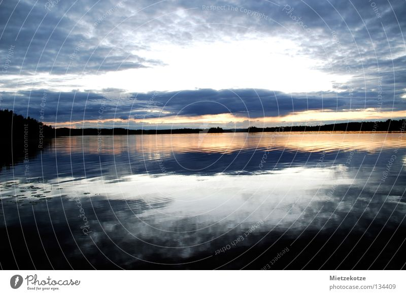 The sky breaks open Sunset Vacation & Travel Finland Lake Reflection Summer Waves Water lily leaf Clouds Longing Wanderlust Colour Sky North