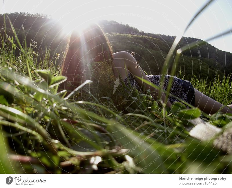 Woman Sun Relaxation Meadow Grass Spring Field Switzerland To enjoy Self portrait Visual spectacle Portrait photograph