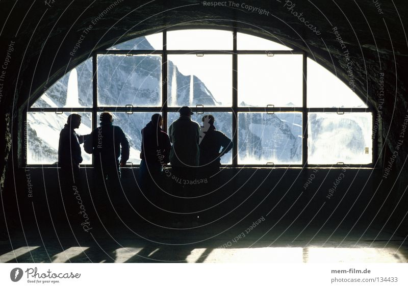 Window Mountain Ice Railroad Vantage point Switzerland Alps Tunnel Train station Tourist Glacier Eiger Grindelwald Bernese Oberland